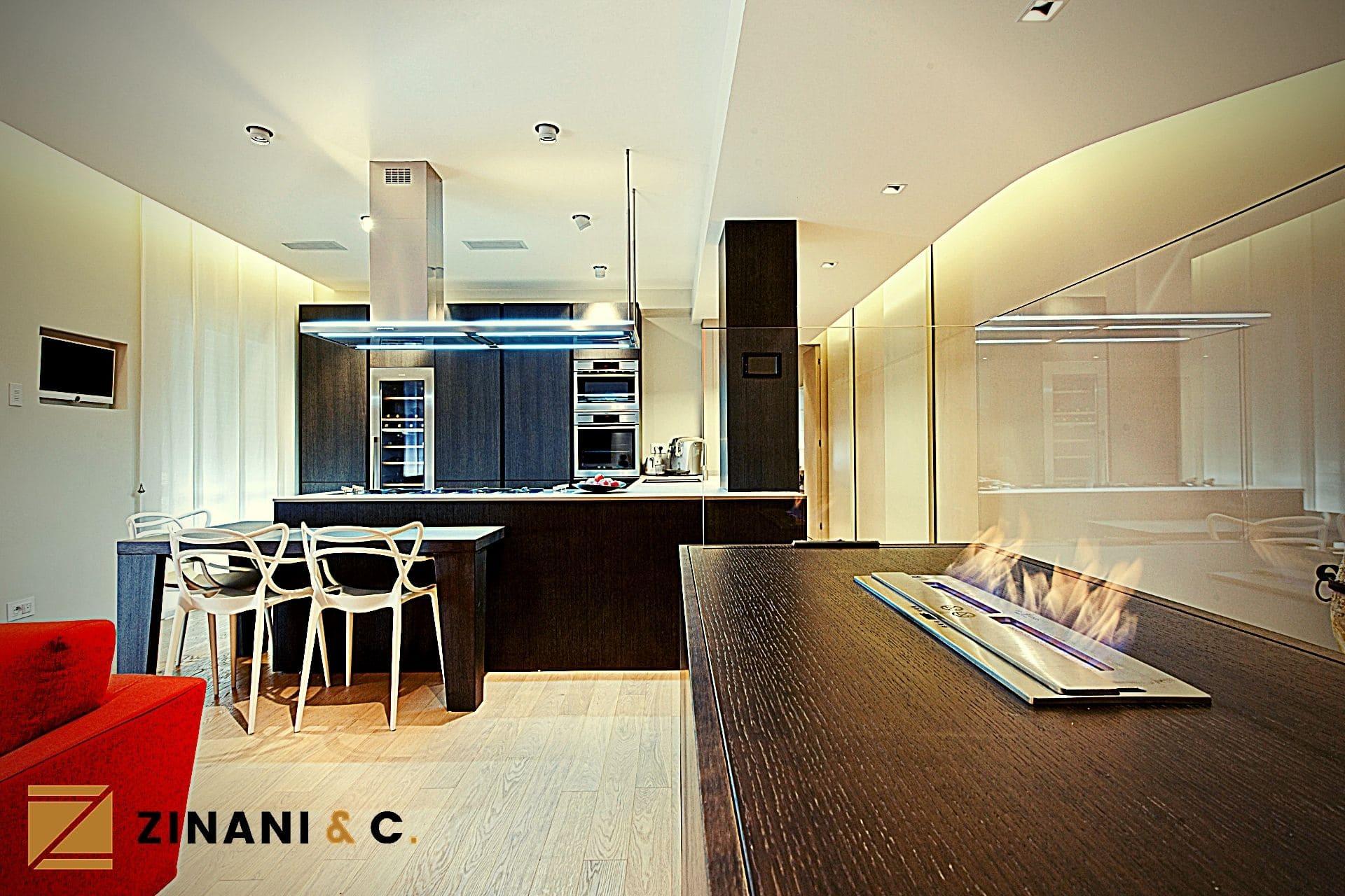 Sala e cucina su misura: mobile per il biocamino artificiale